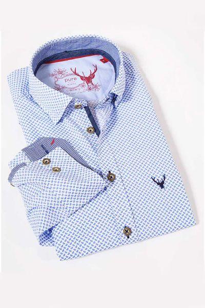 Edles Trachtenhemd langarm blau gemustert von Pure