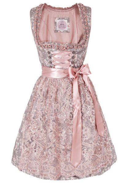 Mini Dirndl Nescha in grau mit rosa Spitzenschürze