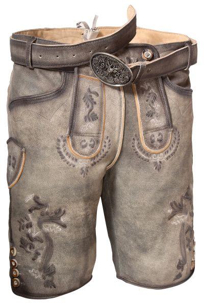 Kurze Herren Trachten Lederhose in asche grau