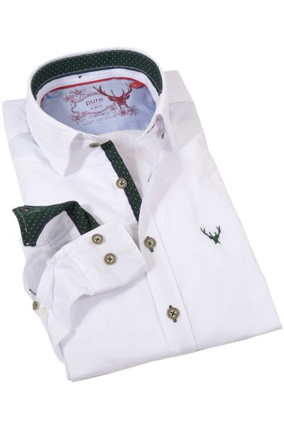 Edles weißes Trachtenhemd mit grünen Details