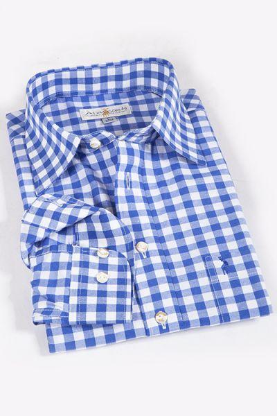 Trachtenhemd kariert blau weiß slim fit 2