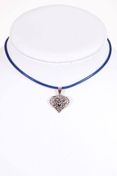 Kinder Trachtenkette in blau mit silbernem Herz
