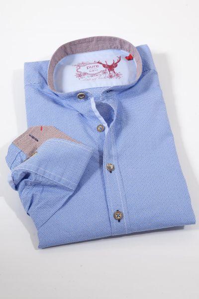 Herren Trachtenhemd von pure in blau mit Retromuster