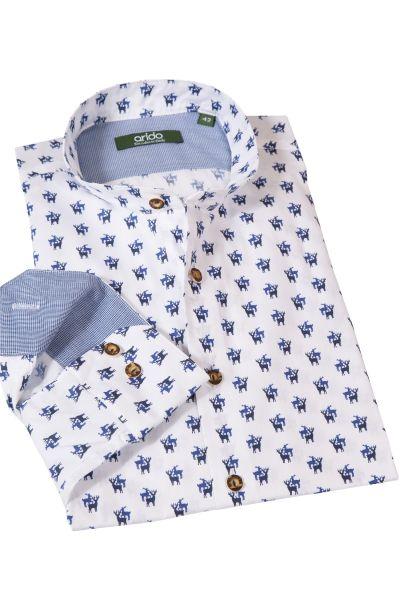 Trachtenhemd mit blauem Hirschdruck