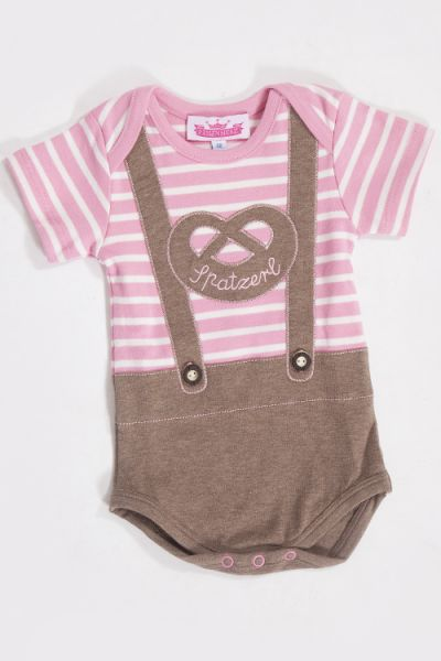Babybody mit kurzen Armen in rosa und braun, Spatzerl