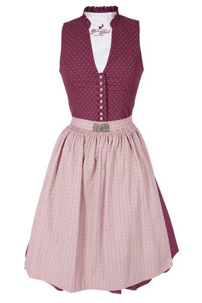 Midi Dirndl Rea in bordeaux mit rosé und V-Ausschnitt