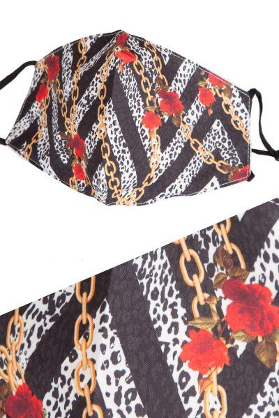 MNS Mundbedeckung schwarz mit rot und gold