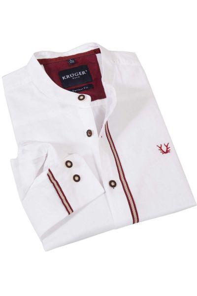 Trachtenhemd als Leinenhemd in weiß mit Rundhals