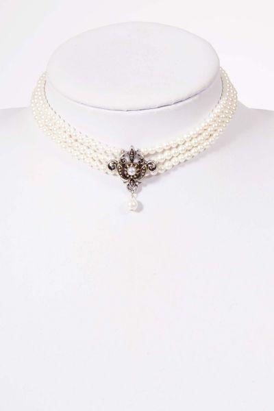 Trachtenkette Kropfband Perlen dreireihig