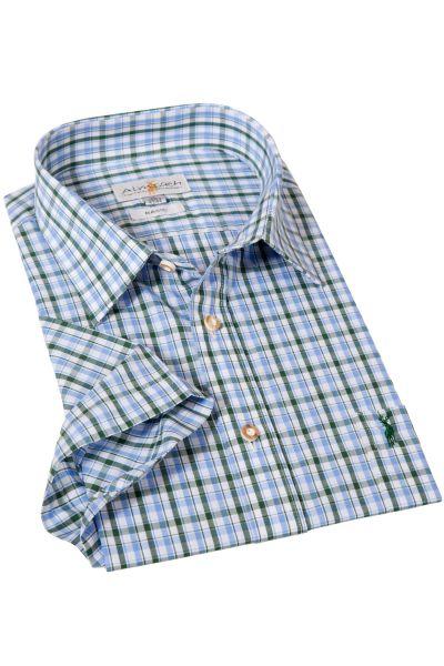 Trachtenhemd blau grün kariert mit kurzen Armen