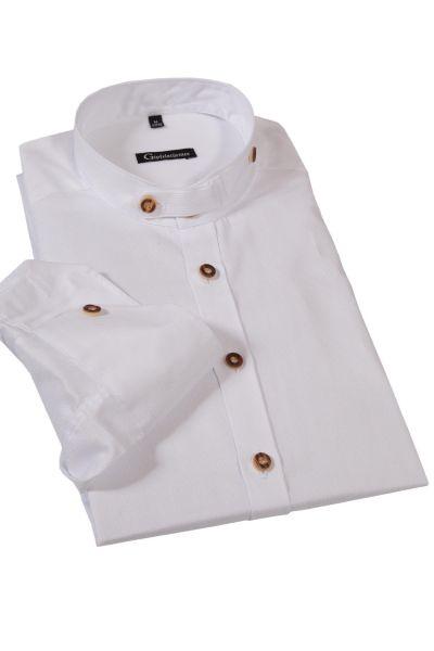Trachtenhemd in weiß mit Stehkragen Slim Fit