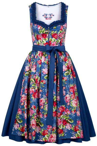 Sportalm Dirndl in blau mit Blumen in Retro Stil