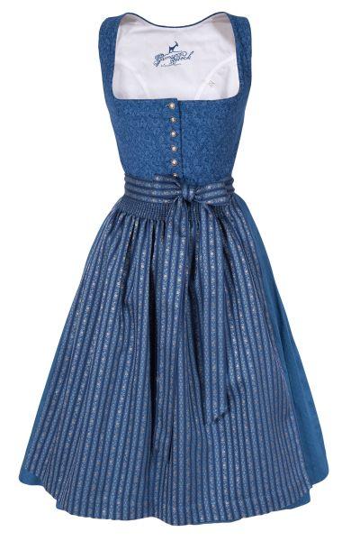Midi Dirndl Karin in blau aus Baumwolle mit Webschürze
