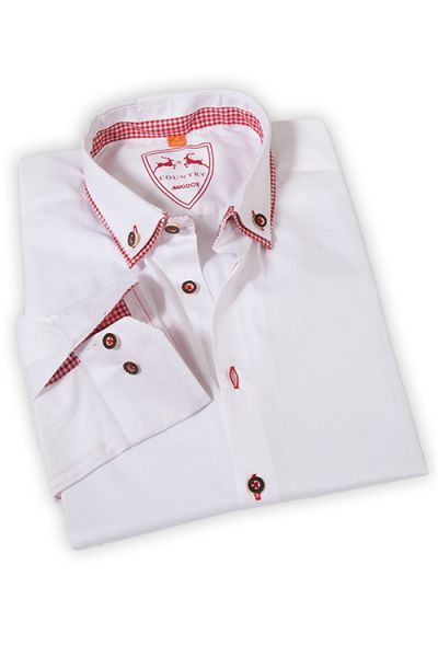 Herren Trachten Hemd weiß rot langarm mit Vichykaro