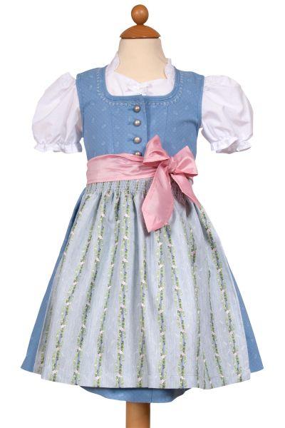 Babydirndl in hellblau mit Bluse und Rosenschürze