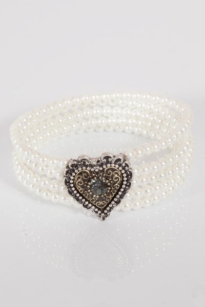 Trachtenarmband weiße Perlen mit Herz