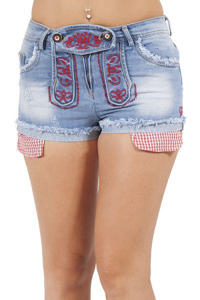 Kurze Trachtenshort für Damen aus Jeans in blau und rot