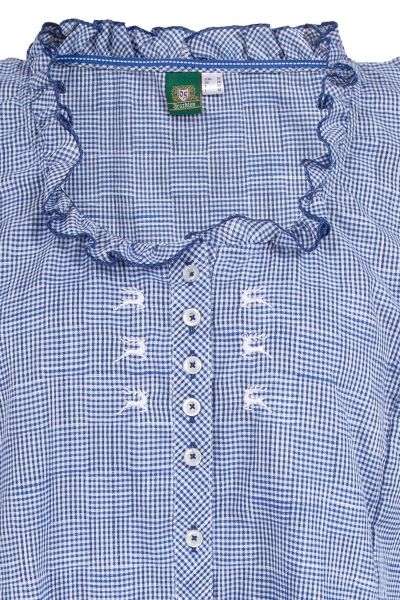 Trachtenbluse XXL in blau weiß kariert Detail