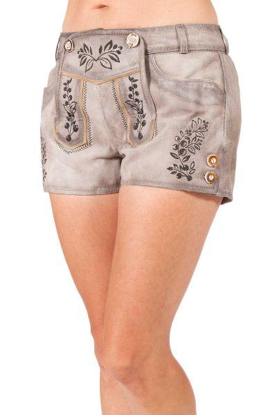Kurze Lederhose Mary für damen in grau