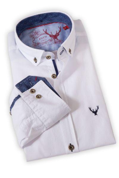 pure Herrenhemd als Trachtenhemd in weiß und blau
