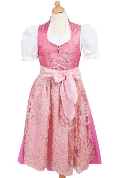 Kinder Dirndl Melina in pink mit Spitzenschürze 3-tlg