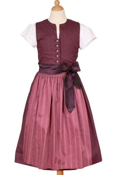 Kinderdirndl Claudia aus Baumwolle in burgund