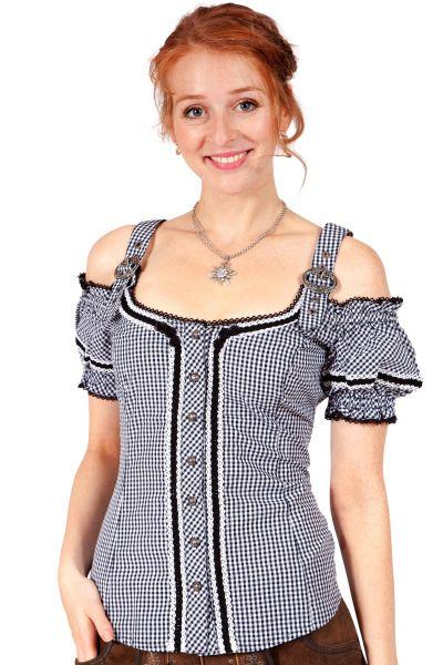 Trachtenbluse schwarz weiß kariert Carmen Stil