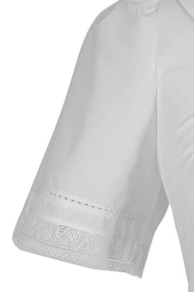 Dirndlbluse Burgi in weiß in großen Größen Arm