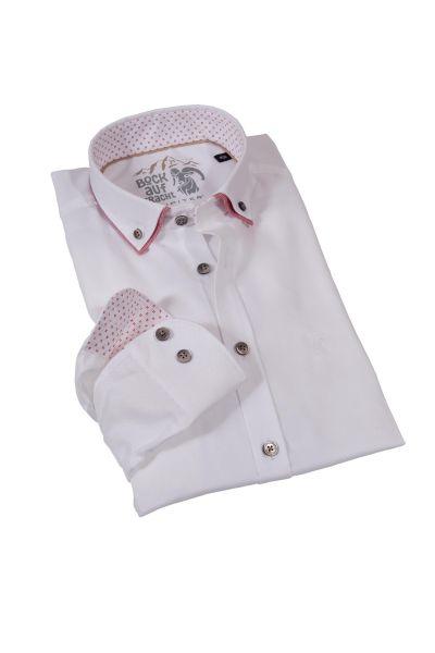 Herren Trachtenhemd Piquee weiß mit roten Details