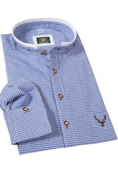 Slim Fit Trachtenhemd in blau kariert mit Stehkragen