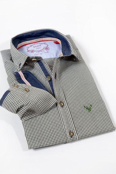 Trachtenhemd von pure in Vichykaro grün weiß kariert