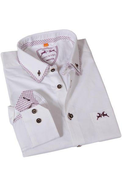 Trachtenhemd in weiß mit Details in aubergine
