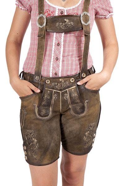Kurze Lederhose Hocheck für Damen in braun mit Träger