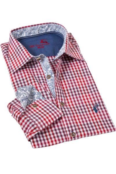 Trachtenhemd kariert in rot und weinrot
