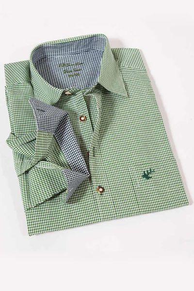 Herren Trachtenhemd langarm Vichykaro grün weiß