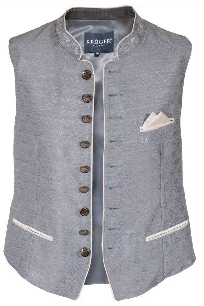 Trachtenweste festlich in silber grau mit creme