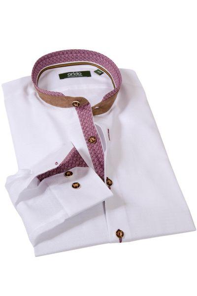 arido Trachtenhemd edel in weiß mit bordeaux