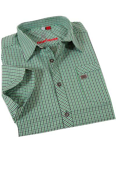 Trachtenhemd Grasdorf in grün kariert Kurzarm