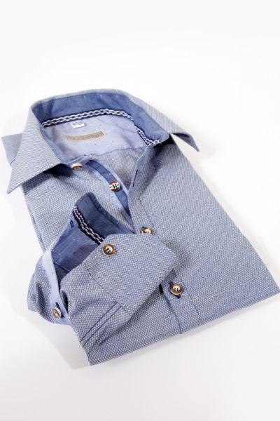 Herren Trachtenhemd in graublau mit Strukturwebung