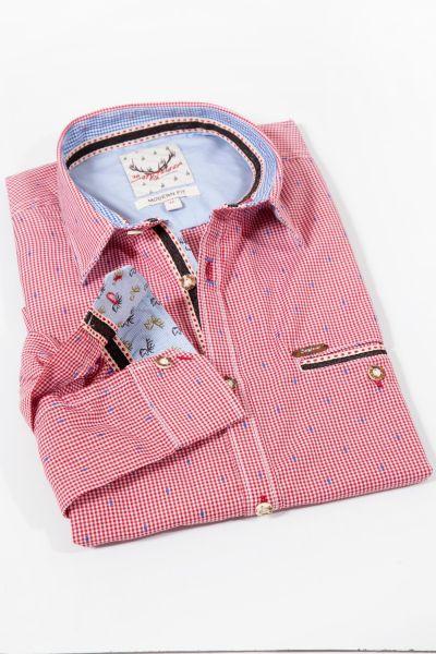 Trachtenhemd kariert rot weiß mit blau