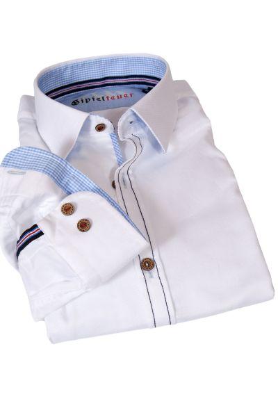 Slim Fit Trachtenhemd in weiß mit blauer Naht