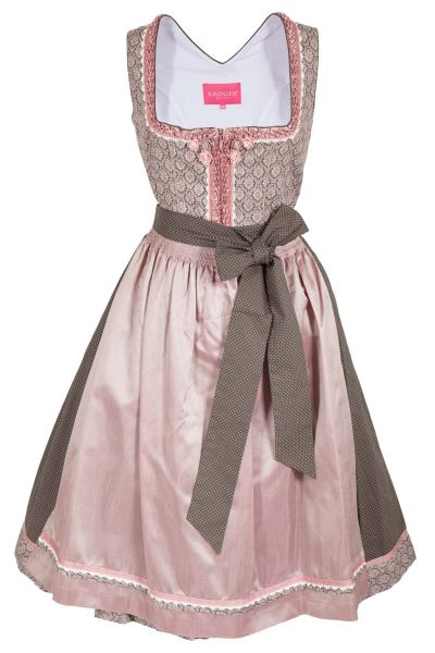 Midi Dirndl in tannengrün mit Ornamenten in rosa