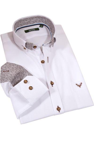 Trachtenhemd von arido in weiß mit braunen Details