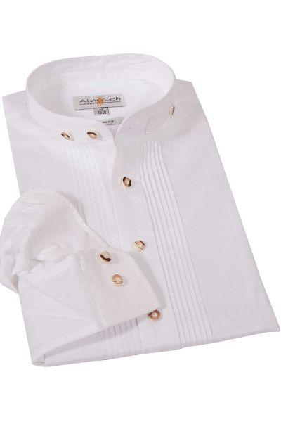 Trachtenhemd weiß Stehkragen Biesen Baumwolle