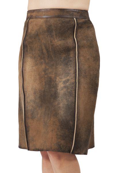 Damen Trachten Lederrock Doris von Maddox in stein antik