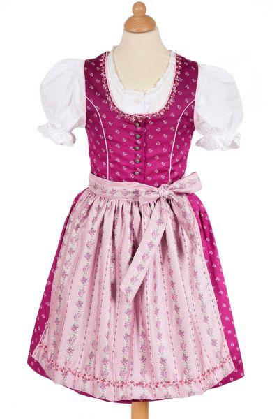 Kinderdirndl in beere und rosa von Isar Trachten