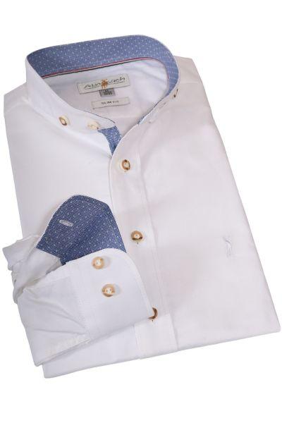 Trachtenhemd in weiß mit Stehkragen
