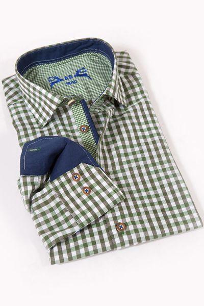 Trachtenhemd mit Karos in grün und weiß