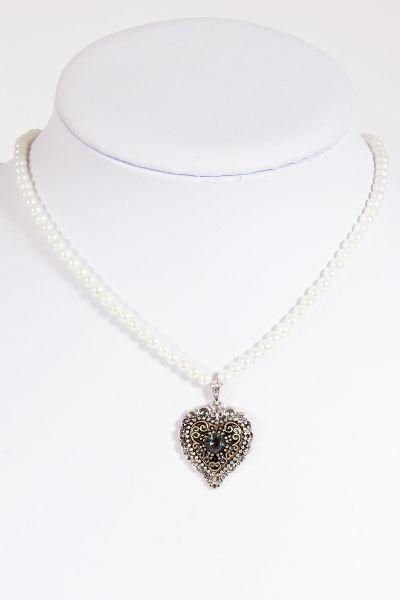 Trachtenkette Perlen weiß mit silbernem Herz