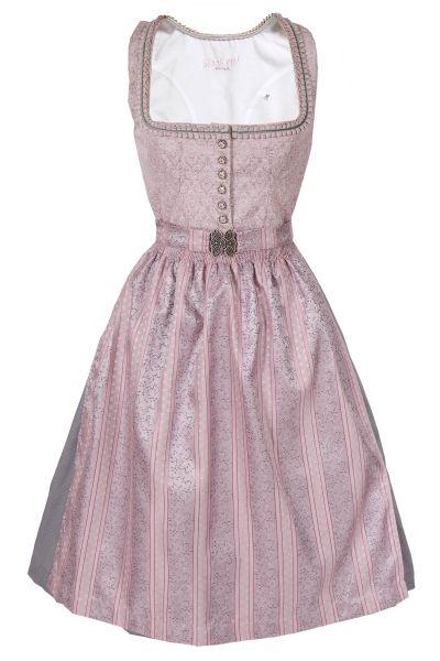 Midi Dirndl Kathi in rosa und hellgrau